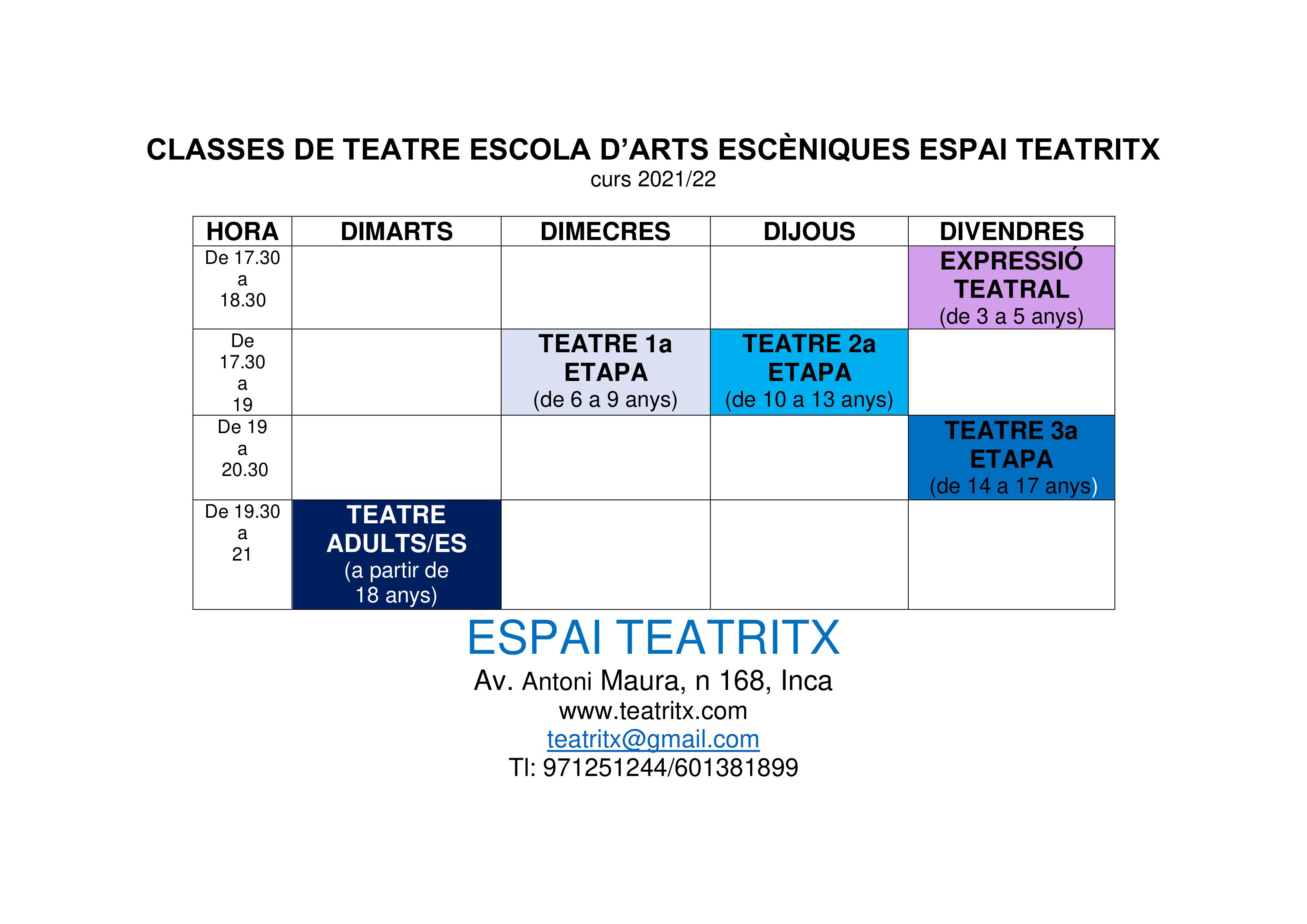 CLASSES DE TEATRE Curs 2021_22